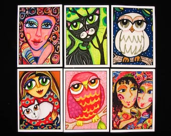 Whimsical Cards, Six Card Set, Owl Cards, Cat Greeting Cards, Gift For Women by Paula DiLeo