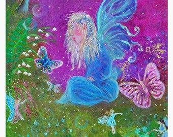 Magic Fairy 8 x 10 Art Print, Girls Room Decor, Fairies, Butterfly, Nursery Room, Pink, Purple, Blue, Fantasy Art, Fairy Art, Girl's Decor