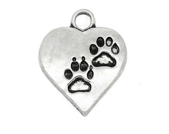 8 Heart PAW PRINT Charms 2 Paws Antique Silver Tone Alloy Dog Cat Pet Charm Jewelry 18x14 mm