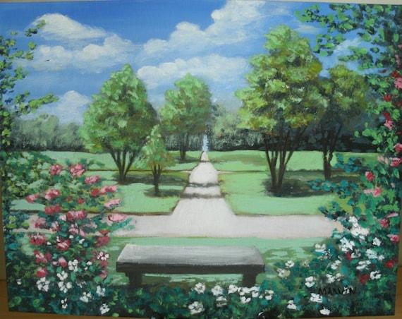 Park bench original oil painting not a print landscape 11 x for Park bench painting