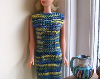 Barbie clothes - blue and green striped dress