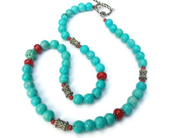 Turquoise and Carnelian with Bali Silver Beaded Necklace