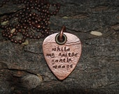 "Beatles Lyrics ""While My Guitar Gently Weeps"" Embossed Copper Guitar Pick Necklace"