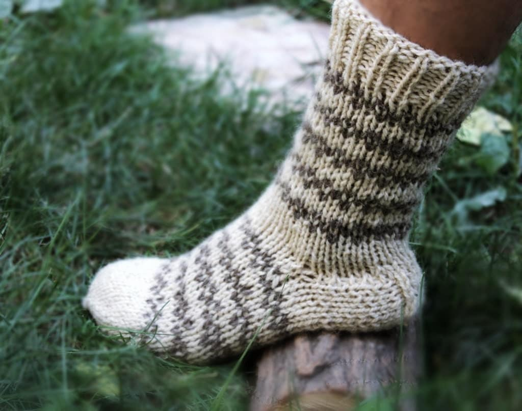 Knitted Men Chunky Wool Socks. Fishing Mens Socks. by Nikton