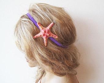 Peach Starfish Elastic Headband, Starfish Hair Accessories,  Beach Hair, Mermaid Hair, Beach Weddings, Beach Hair,