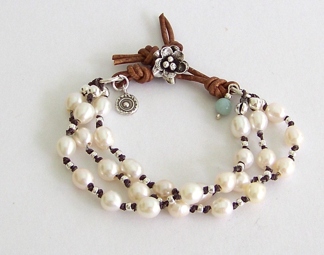 freshwater pearl leather wrap bracelet white freshwater. Black Bedroom Furniture Sets. Home Design Ideas