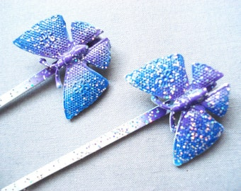 Vintage Butterfly Hairpins - 2 Vintage Glitter Hairclips - Purple Bobby Pins - Hair Accessories