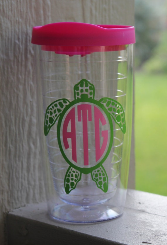 personalized acrylic tumbler with sea turtle and monogram