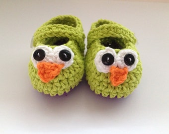 Lime Green Owl Booties