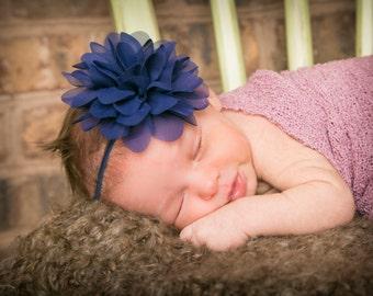 15% Off..Baby Headbands, Navy Headband, Baby Girl Headband, Baby Bows Headband, Infant Headband, Headband, Newborn Head band