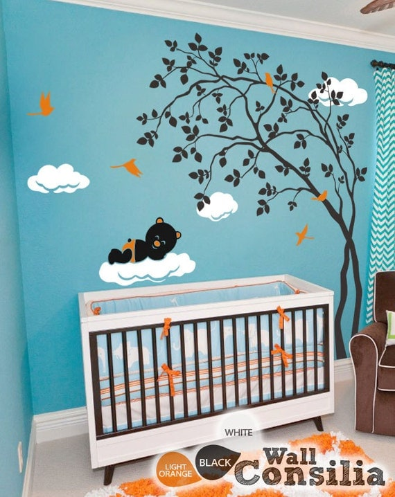 Baby kinderzimmer wandtattoo baum wall decal von wallconsilia for Wandtattoo baum babyzimmer