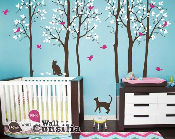Baby nursery wall decals birch trees decals cats wall decal for Birch tree mural nursery