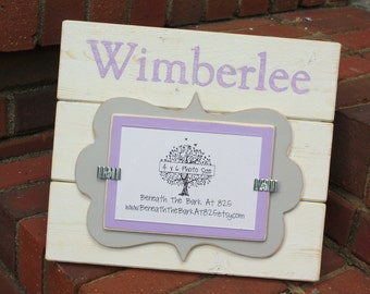 Distressed Wood Picture Frame - Holds a 4x6 Photo - With Doodle Cut Out - Personalized With Name - White, Lavender & Light Gray