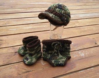 Camo hat, boots and diaper cover set- Made to Order- Any Size