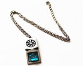 Vintage 1970s Space Oddity Turquoise Glass Stone Magic Rectangular  Moon  Grunge Hippie Long Tin Swedish Silver-toned Necklace