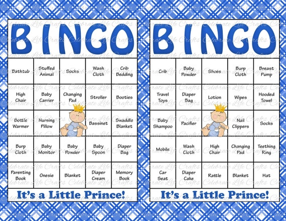 60 Baby Shower Bingo Cards Printable Party Baby Boy Instant
