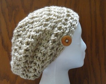 Crochet Slouchy Beanie Hat Tan Wood Button Acrylic Warm Women Teen  Beret Tam