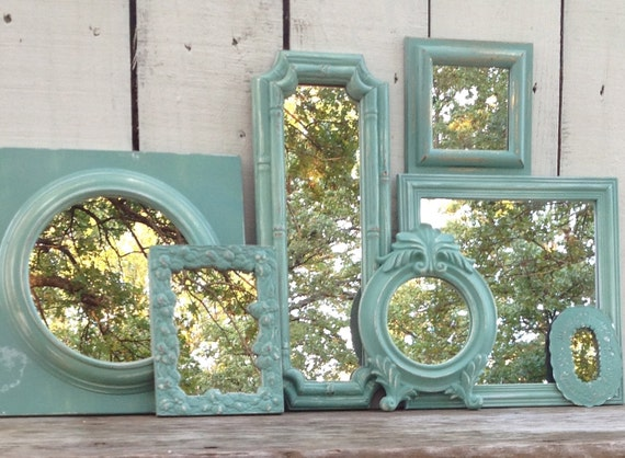 Mint Mirror Wall Collage / 7 Piece Up-Cycled Country French Wall Decor