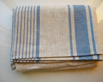 For Dom. 2 Natural Linen Bath Sauna Towels - Huckaback - Large Bath Sheets + 2 washclotsh.   Blue Stripe. Natural Bathroom Linens.