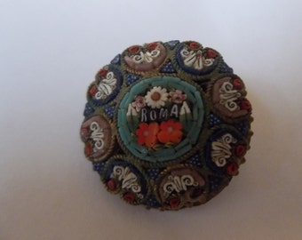 Vintage Micromosaic Roma Brooch
