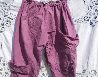 Genuine RitaNoTiara over size quirky funky unique lagenlook pocket cropped pants bloomers os OOAK  Dusk Pearl Made in England Layering