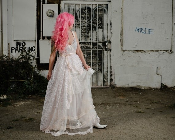 Whisper Pink Off White Applique Lace & Tulle Boho Princess