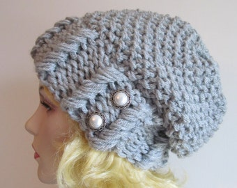 Grey Slouchy Hipster Beanie Slouch Hats Baggy Beret Pearl Buttons womens fall winter accessory Heather Grey Super Chunky Knit
