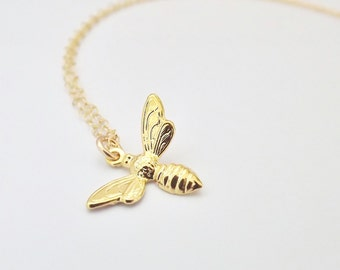 Gold Bee Necklace - Tiny Gold Bumble Bee