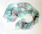 Blossoming sakura scarf. Hand painted sakura silk scarf. Turquoise silk scarf. Ready to ship.
