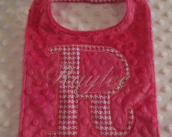Pink Houndstooth Initial Bib