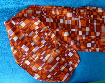 Vintage 1960s scarf abstract checkered pattern shades of orange and white