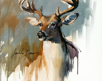 White Tailed Deer, Buck Giclee Fine Art Print - Pennsylvania Deer by Jennifer Brandon-pet portrait print