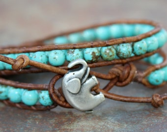 Leather Wrap Bracelet, Genuine Turquoise, Elephant, 2x wrap bracelet, beaded bracelets, boho jewelry