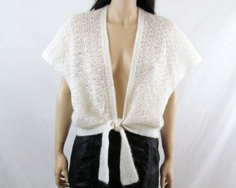 80's Sweater 70's Sweater Slouchy Sweater Crocheted Sweater Sexy Sweater Sexy Blouse Hippie Sweater Sheer Blouse 80's Cardigan Boho Sweater