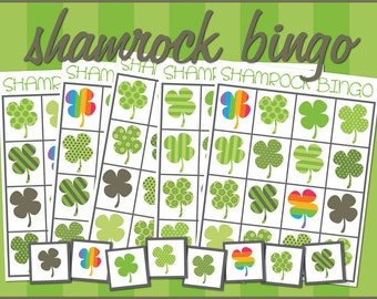 Shamrock Bingo Game Printable -Preschool and Kindergarten Bingo- St. Patrick's Day