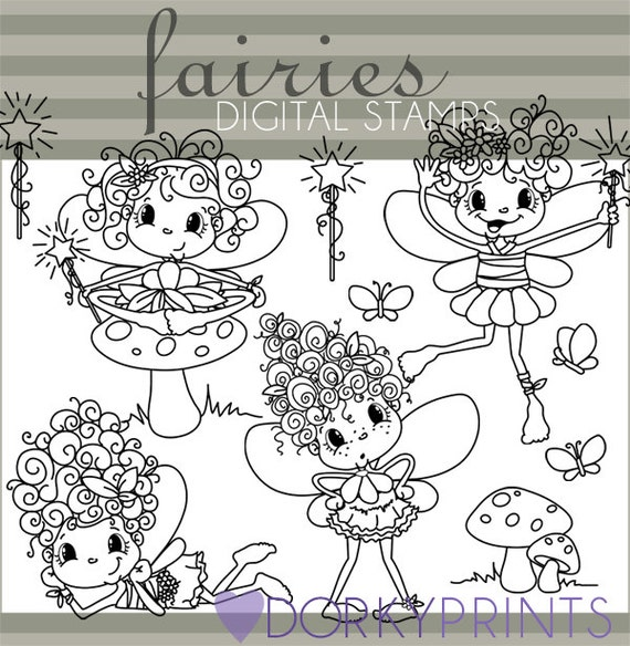 Line Art Limited : Fairy clipart personal and limited commercial cute