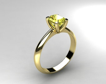 0.58ct Yellow sapphire ring, engagement ring, solitaire, white gold, yellow gold, emerald cut sapphire, simple, wedding ring, rose gold