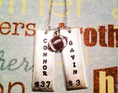 Football necklace for mom with names and numbers