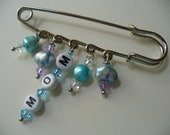 Silver Kilt Pin, Mom Silver Brooch Kilt Pin, Blue Fresh Water Pearls, Mom To Be, Mothers Day, Pin, Silver Jewelry, Safety Pin, Scarf Pin