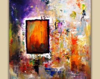 Abstract Art Print on Aluminum, Pallet Knife Art Painting, Fine Art Print, , Original Oil Painting, Purple, Red, Orange, Green, White, Color