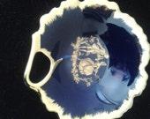 Limoges Cobalt Trinket Dish, Leaf Shape