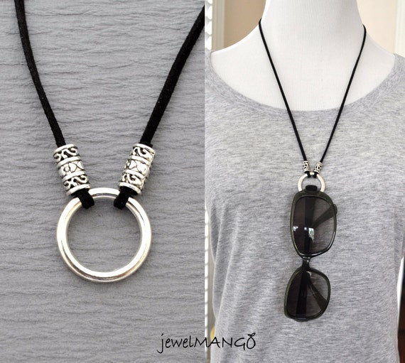 Eyeglass Frame Jewelry : eyeglasses necklace eyeglass holder suede leather necklace