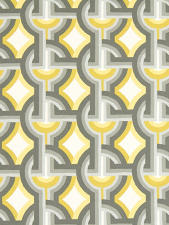 Yellow Grey Cotton Upholstery Drapery Fabric Custom Modern