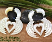 """Fake Gauge Earrings, """"Wings & Hearts"""" Mother Of Pearl, Hand Carved, Naturally Organic, Tribal"""