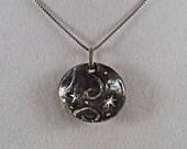 Silver Stars Pendant, Silver Cosmic Pendant, Handmade Silver Pendant