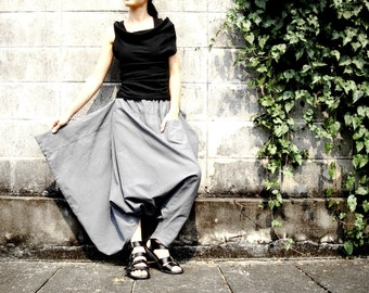 NO.26 Light Grey Cotton Asymmetric Harem Pants
