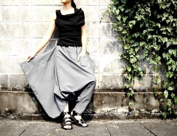 NO.26 Light Grey Cotton Asymmetric Harem Pants