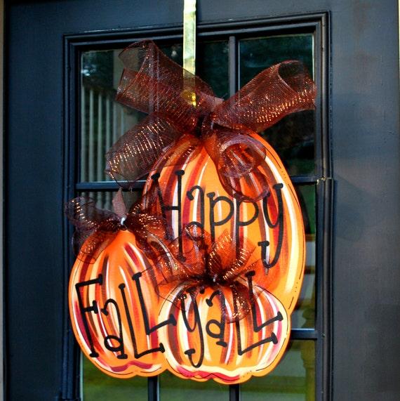 Fall Wreath Door Hanger Fall Pumpkin Door By Looleighscharm