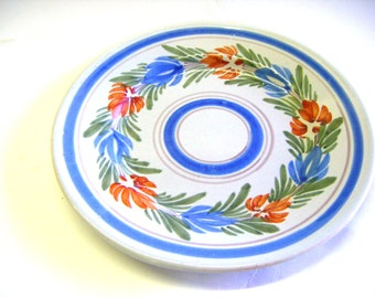 Antique Quimper Faience Hand Painted Stoneware Pottery Plate On Sale