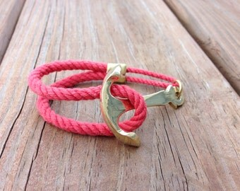 Nautical Rope Brass Anchor Bracelet - Weathered Coral